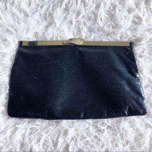 Vintage black leather gold clasp clutch!
